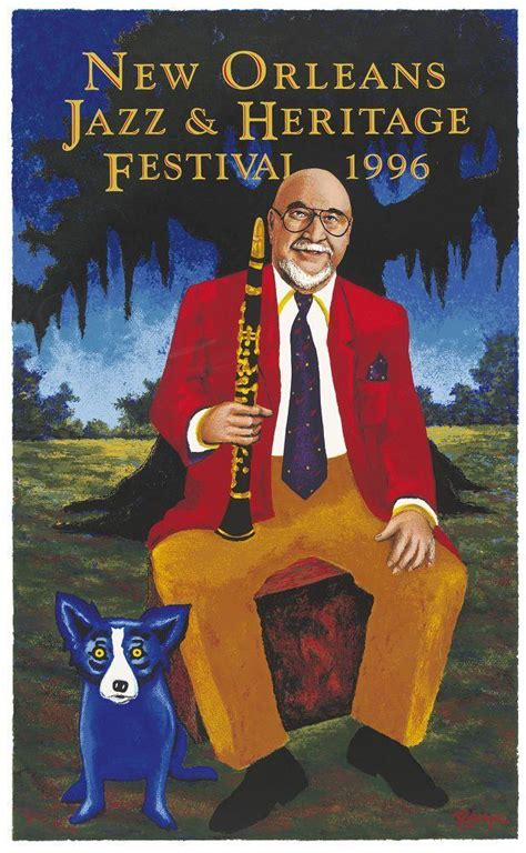 1996 New Orleans Jazz Fest Poster Blue Dog by George