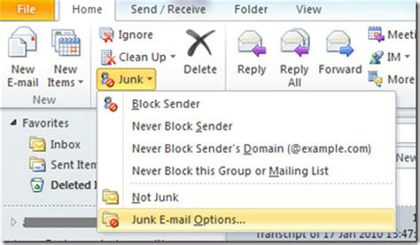 Outlook 2010: Automatically Add An Email To Safe Senders List