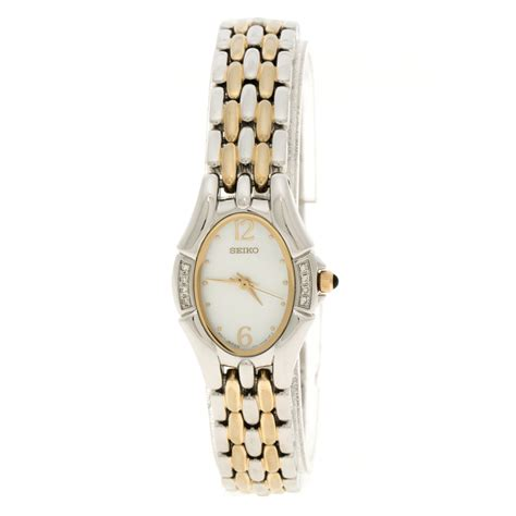 Seiko Mother of Pearl Two Tone Stainless Steel Women's