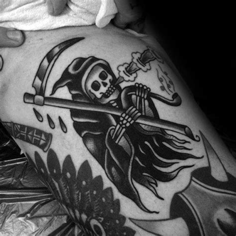 50 Traditional Reaper Tattoo Designs For Men - Grim Ink Ideas
