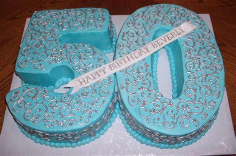 BLUE BIRTHDAY CAKES FOR WOMEN | Blue and silver 50th