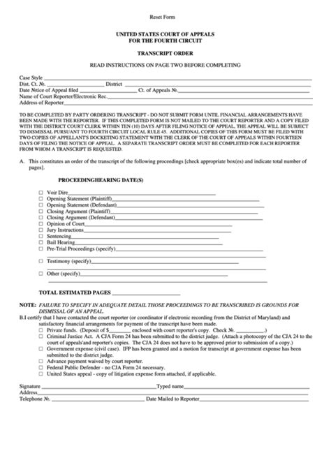 Transcript Order - United States Court Of Appeals For The
