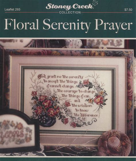 Floral Serenity Prayer - Counted Cross Stitch Pattern