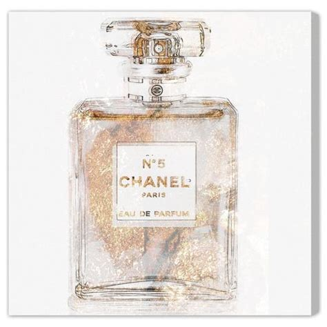 Champagne Graphic Art Chanel Perfume Wrapped Canvas